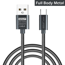 Golf Metal Micro USB Cable Fast Charging Type C Mobile Phone Wire Data Cable Type-C USB Charger for Samsung Huawei Xiaomi USB-C
