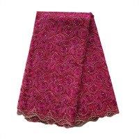 Haute qualité rose rouge couleur africaine dentelle tissu. français Tulle Floral Broderie De Mariage Garniture Dentelle Tissu pour la robe. FC1603-27W 5y