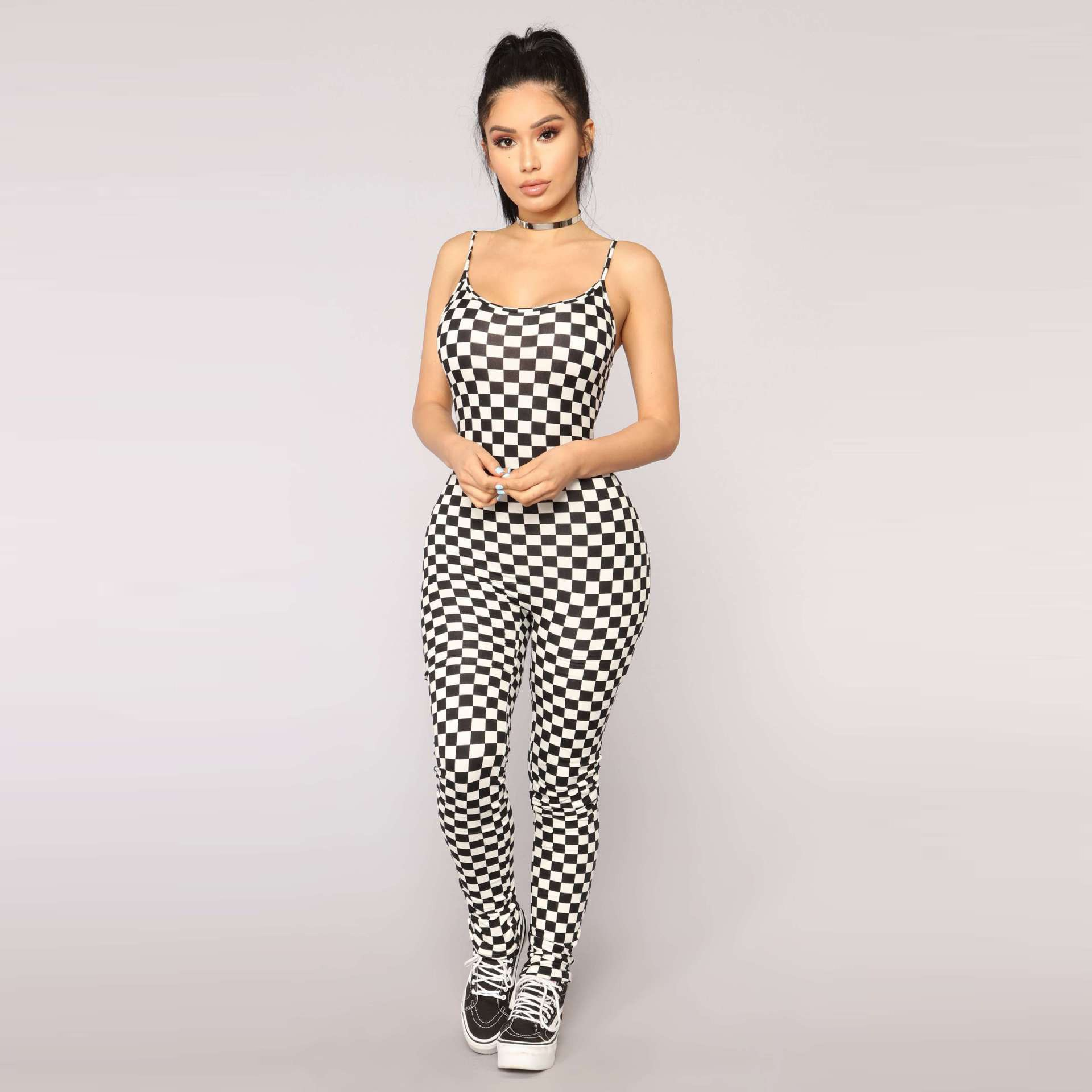Women Sexy Strap Checkboard Print Jumpsuits Women Black Backless Plaid Sexy Rompers Summer Bodycon Jumpsuit