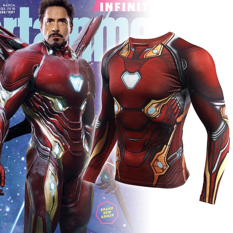 Rashgard Iron Man 3D Print Sport Shirt Men Gym Long Sleeve Running Shirt Compression Shirts Tight Fitness Dry Fit T Shirt Men