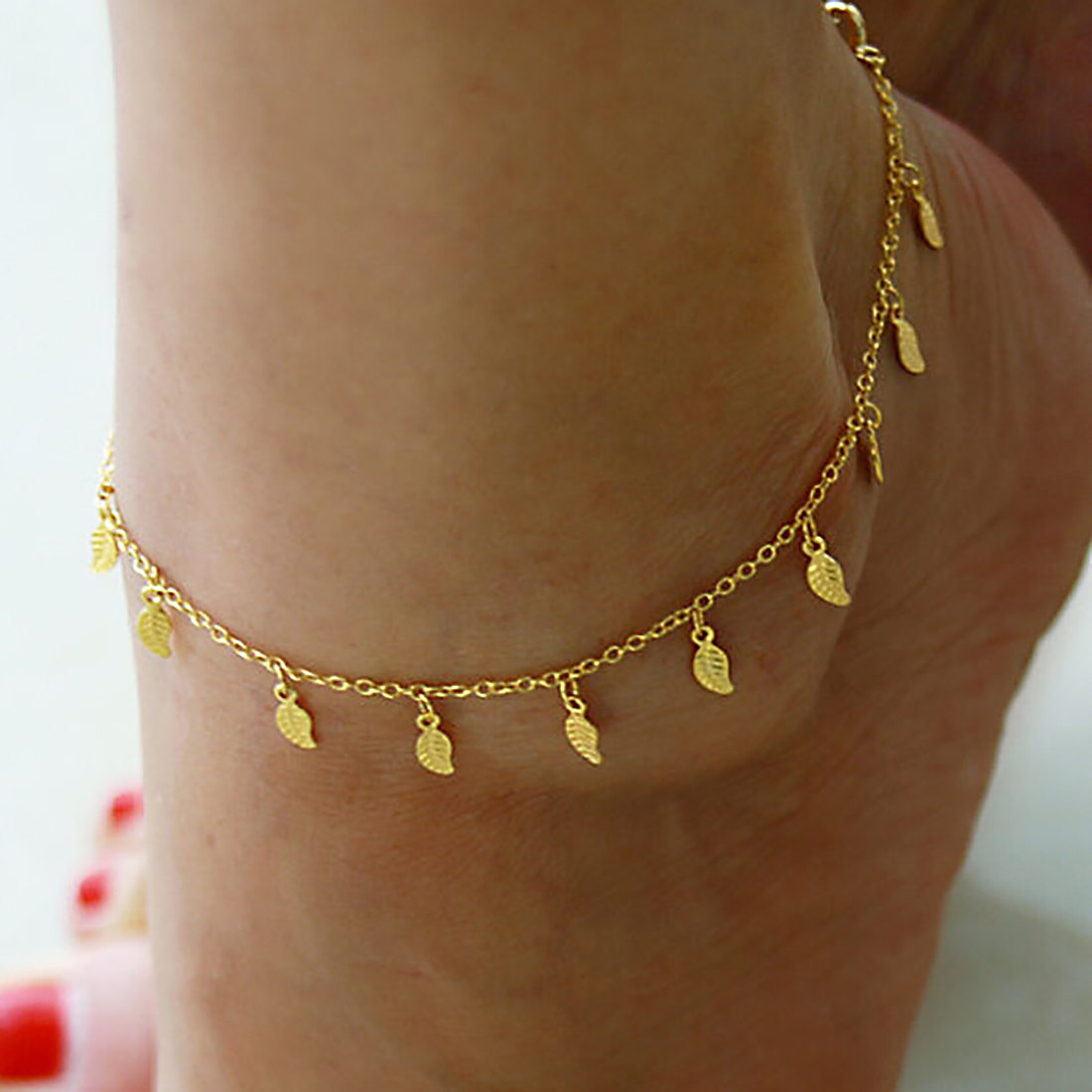 Fine Sexy Anklet For Women Style Gold Leaves Ankle Bracelet Barefoot Sandals Foot Jewelry Leg Chain On Foot