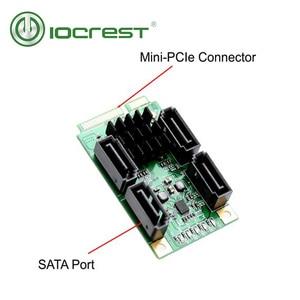 IOCREST 4 порта SATA III 6G Mini PCI Express Marvel 88SE9215 карта контроллера SATA3.0 Mini PCIe SSD адаптер карта