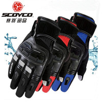 2017 Winter New Warm Waterproof SCOYCO Motorcycle Glove Leather Motorbike Gloves Can Touch Screen Have 3