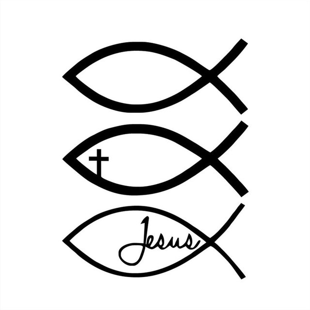 96cm128cm Jesus Fish God Christian Cross Vinyl Sticker Decal Car
