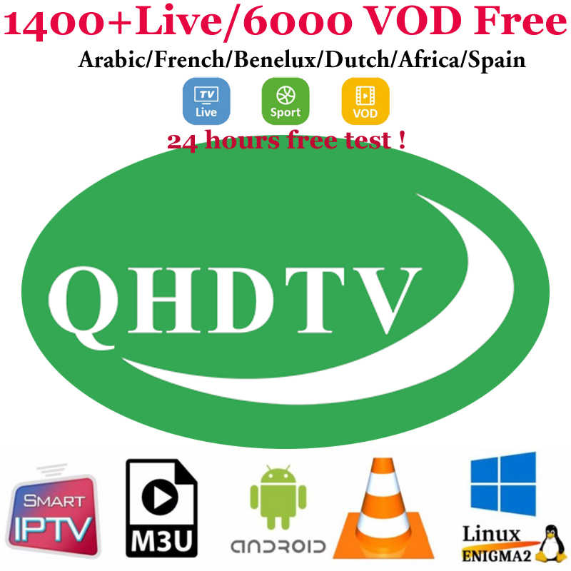 1 Tahun Qhdtv IPTV Subscription Bahasa Perancis Bahasa Swedia Belanda Afrika Maroko IP TV TV untuk Android TV Box M3U Smart TV VLC