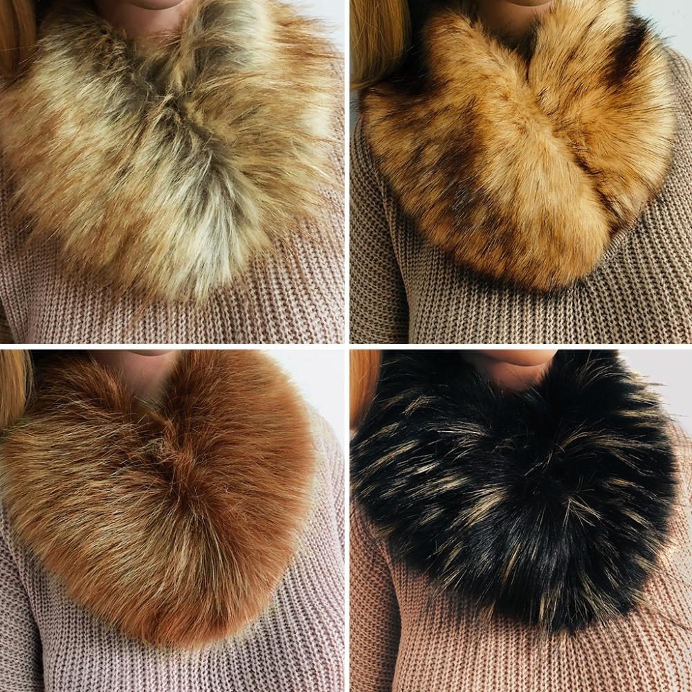 Women Winter Faux Fur Collar Neck Warmer   Scarf     Wrap   Shrug Wedding Evening Party