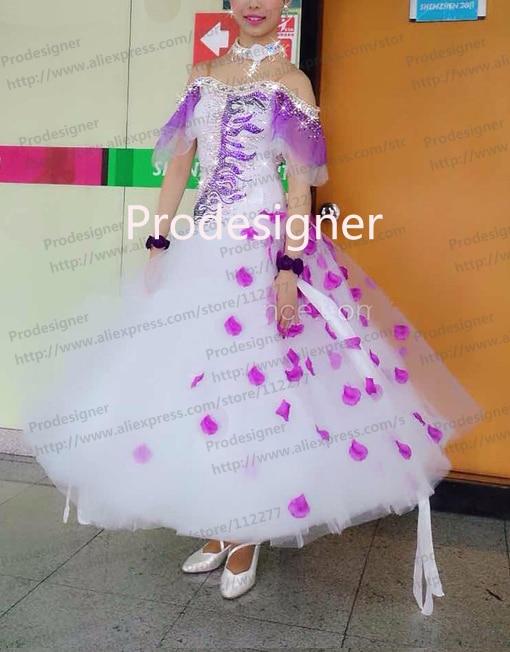 2016 New Style Competition Slik organza ballroom Standard dance font b dress b font juvenile dance