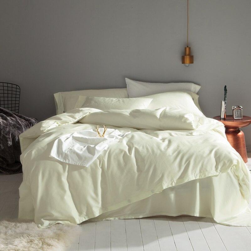 Solide Blanc Argent Rose couleur coton Égyptien ensemble De Literie Reine Roi Double taille Équipée Lit feuille ensemble housse de Couette Taie D'oreiller