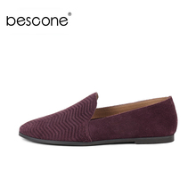 BESCONE New Fashion Shallow Round Toe Ladies Flats Casual 1 cm Low Heel Slip-On Shoes Basic Solid Comfortable Women BY17