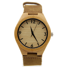Women Men s Fashion Bamboo Wood japan movement Watch with Genuine Leather Watchband For Lover s