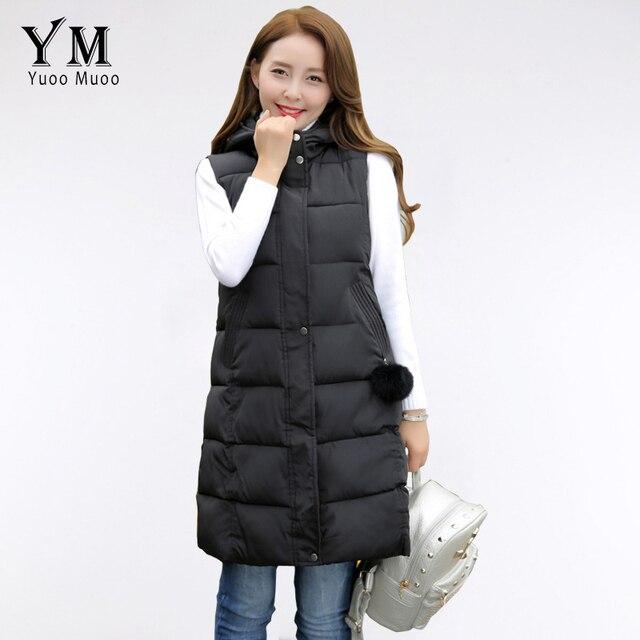 YuooMuoo 2016 New Arrival Women Long Vest Hooded Fashion Female Vest Plus Size Women Sleeveless Jacket colete feminino