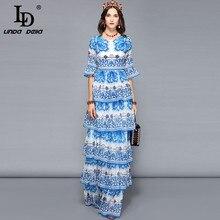 リンダデラ女性ロングマキシドレスティアード青と白の花柄カジュアル休日休暇ドレスエレガントなパーティードレス LD