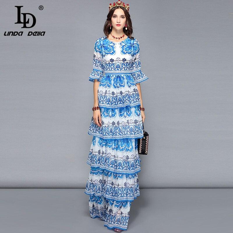 LD LINDA DELLA Frauen Lange Maxi Kleider Tiered Blau und weiß Floral Print Casual Urlaub Urlaub Kleid Elegante Party Kleider-in Kleider aus Damenbekleidung bei  Gruppe 1