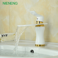 NIENENG NIENENG Copper Paint Gold Bathroom Basin Faucet White Water Mouth Waterfall Washingroom Faucet ICD60280