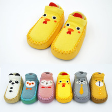 1 Pair Keep Warm Baby Socks Anti-Slip 6 Colors 11-14cm Cartoon Animal Chicken Panda Socks For Unisex Infant Colorful Floor Socks