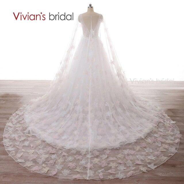 Vivian der Braut Brautkleid Tüll Blumen Sleeveless Eine Linie ...