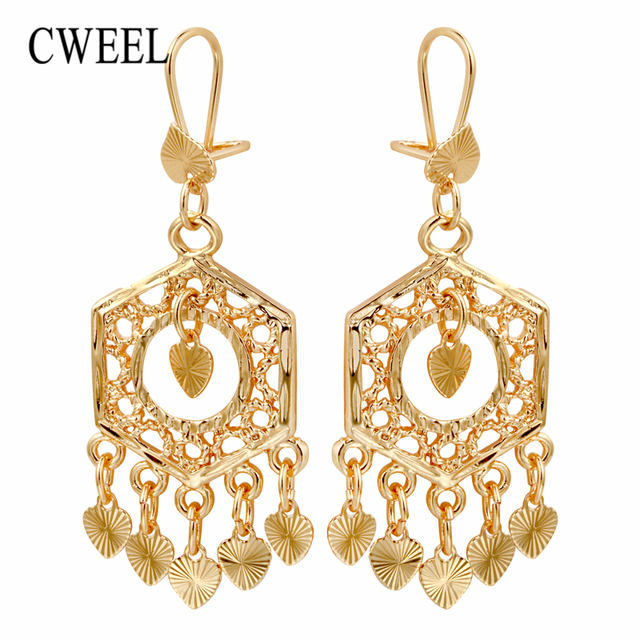 Cweel Long Drop Earrings Jewelry For Women Bohemian Gold Color Tel Boho Bridal Wedding Party