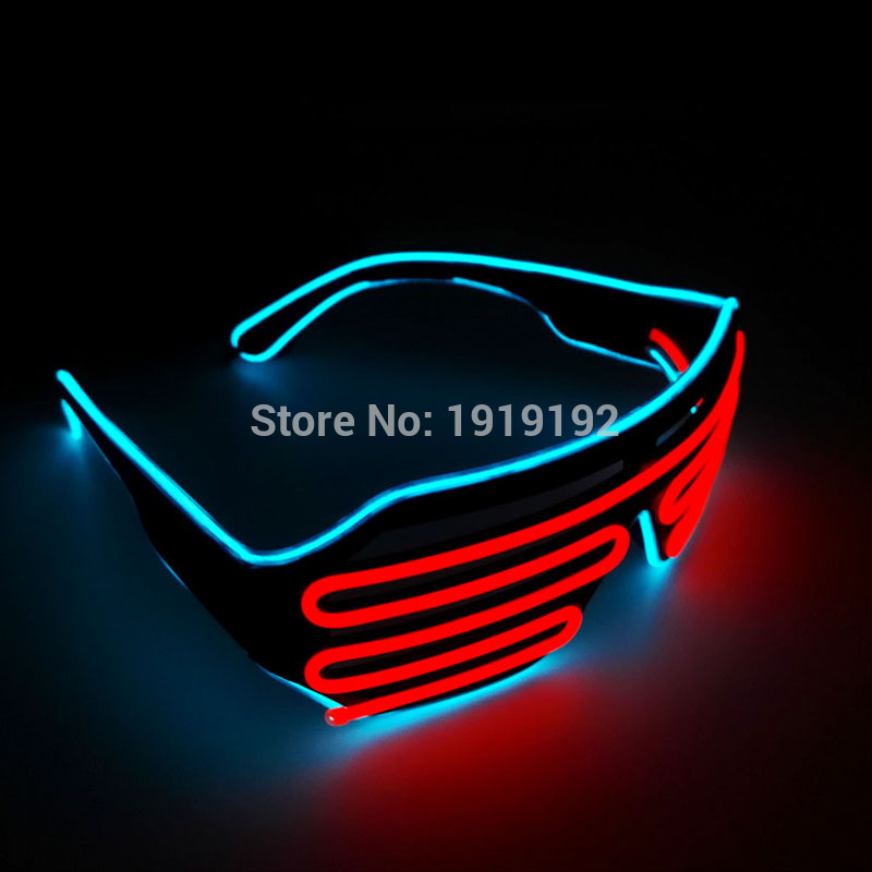 Double Colors Shutter Shape EL Glasses Party Supply Music Dance Bright Led Glasses With 3V Sound Active inverter ...