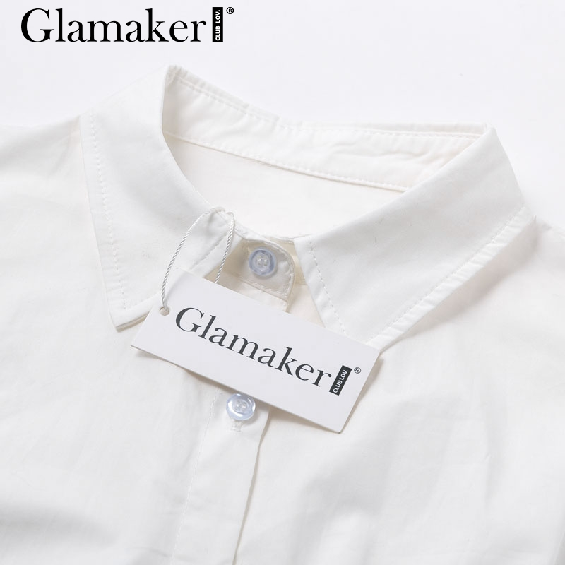 Glamaker Batwing sleeve white mini dress Women office lady pleated blouse shirt dress Autumn high waist slim elegant short dress 5