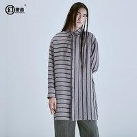 Designer brand personality in the men's long ramie oversize stripe shirt long sleeve shirt 18 ss
