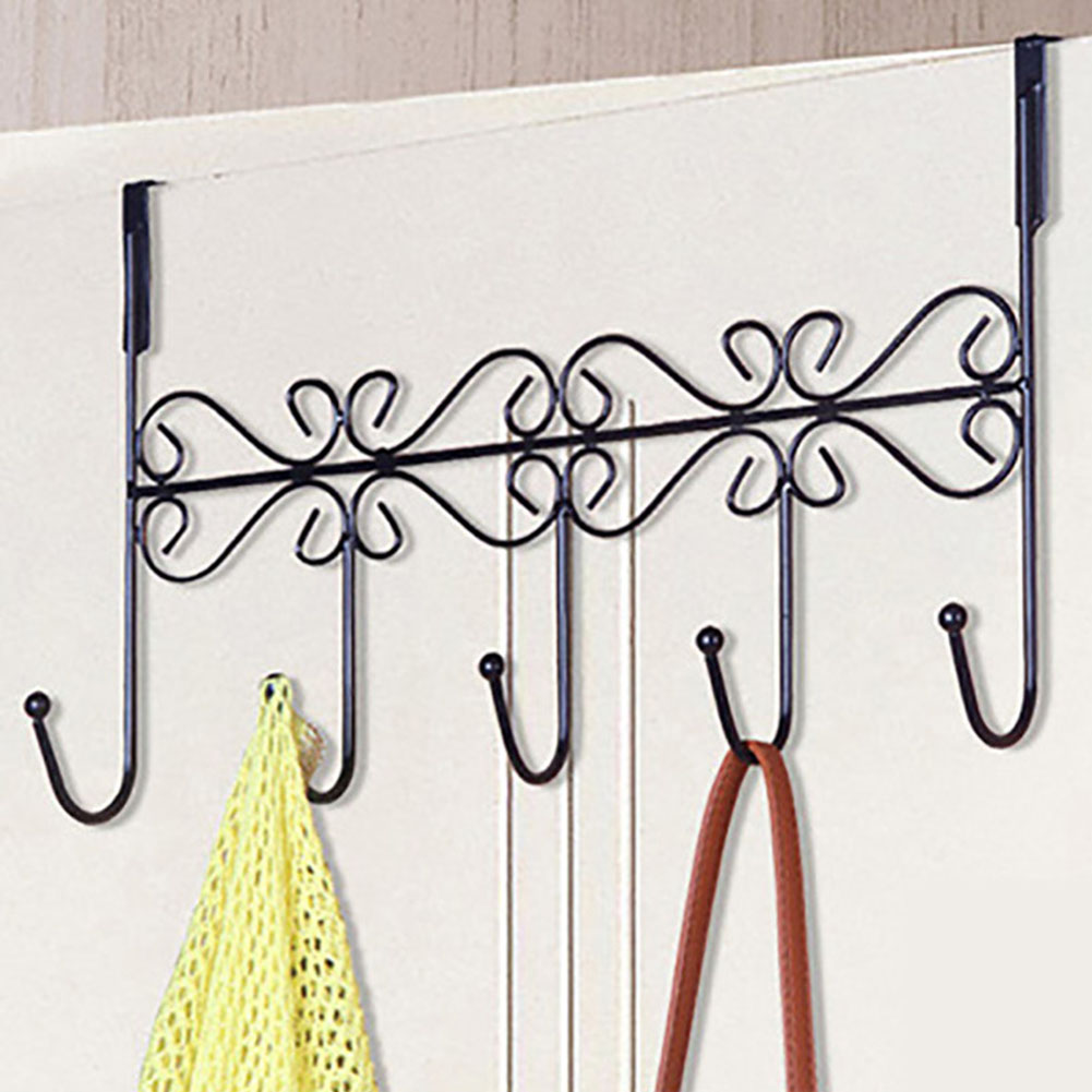 Iron Coat Towel Bag Wall Hooks Back Door Hangers Home Bathroom Holder 5 Hooks Rack  XH8Z