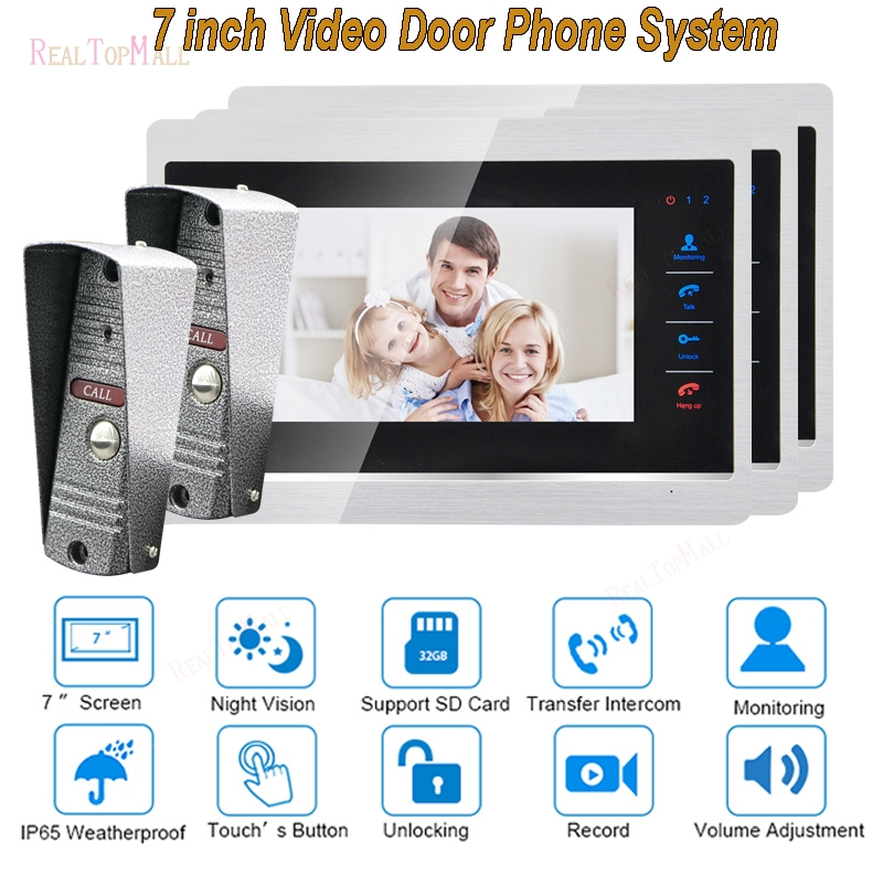 7 Inch Doorbell Camera Video Door Phone Monitor Intercom System Kit Night Vision 1200 TVL Recording SD Card Support 2v 1 7 inch color tft lcd wired video door phone home doorbell intercom camera system with 1 camera 1 monitor support night vision