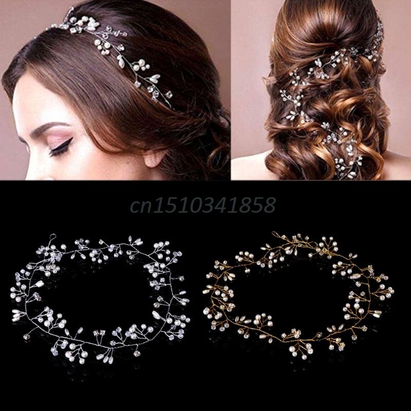 1 X Brand New Wedding Bride Plated Rhinestone Crystal Hair Hoop Clip Headband