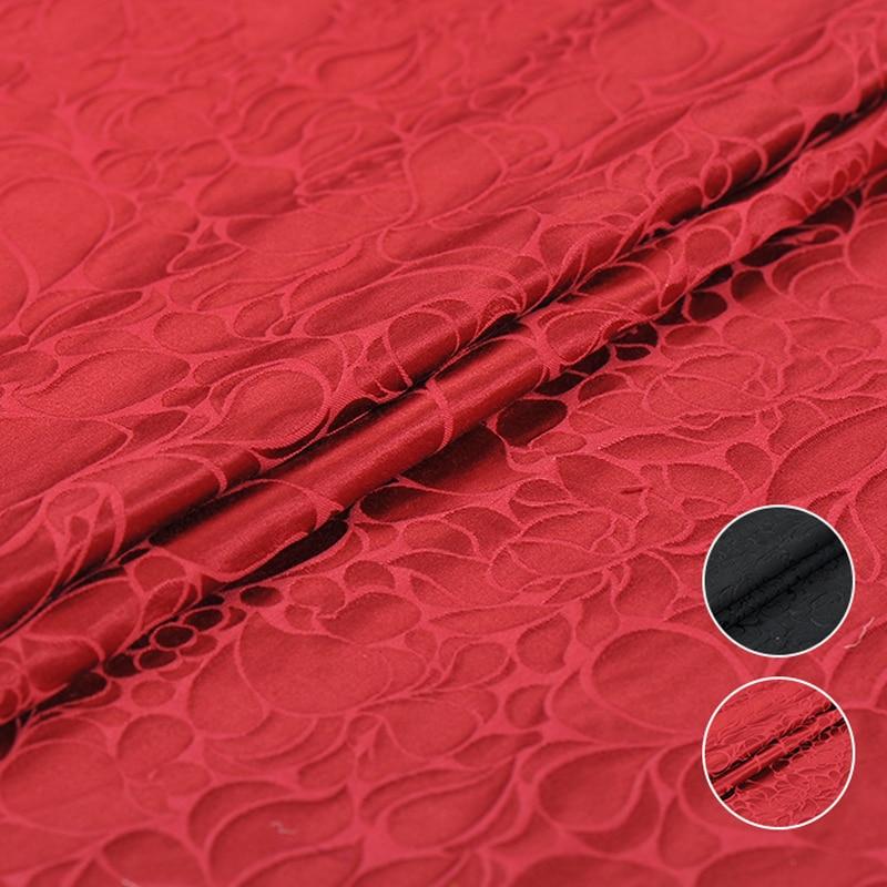146CM Wide 58MM Jacquard Black Red Silk Cotton Fabric for Spring Autumn Dress Shirt Jacket J203
