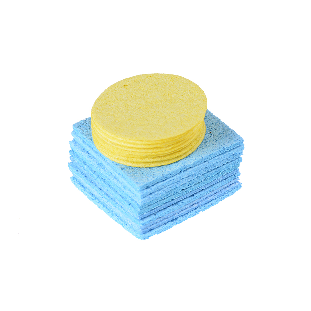 10pcs Solder Iron Tip Welding PCB Cleaning Pads Universal Soldering Iron Replacement Sponges Yellow Or Blue 5cm, 6x6mm