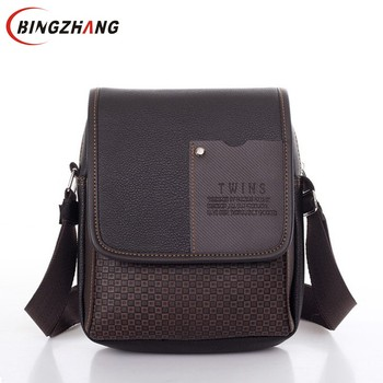 2019 vintage Men's bag shoulder crossbody bags for men messenger bag men leather Pu plaid small male handbags black L4-3333
