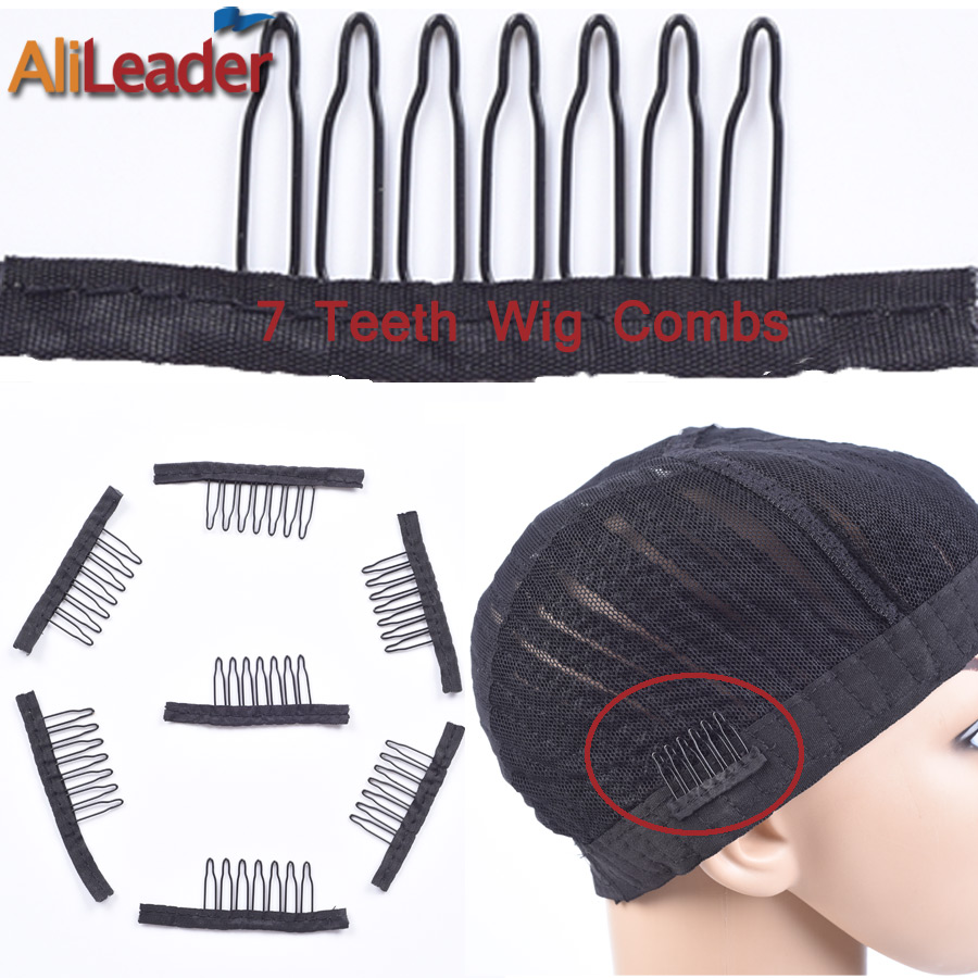 Good Quality 12pc/Lot Back wig Comb for Making Wigs For Clip in Human Hair Extensions 7-Teeth Hair Extension Snap Metal Clips