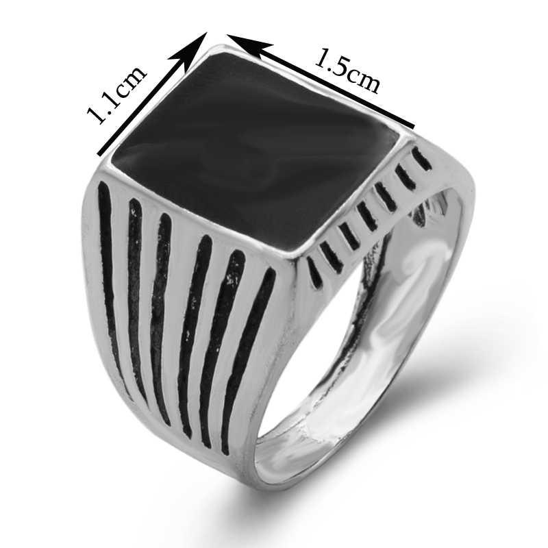 Vintage stripe เงินทิเบตชุบเคลือบสีดำแหวนผู้ชาย 2018 คลาสสิก