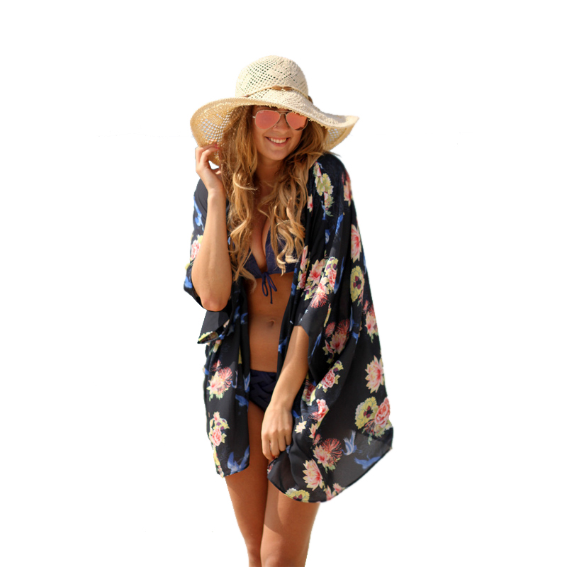 Women Summer Cardigans Half Sleeve Tropical Floral Print Cover up Beach Loose Regular Blouse Casual Chiffon Kimono Blusas