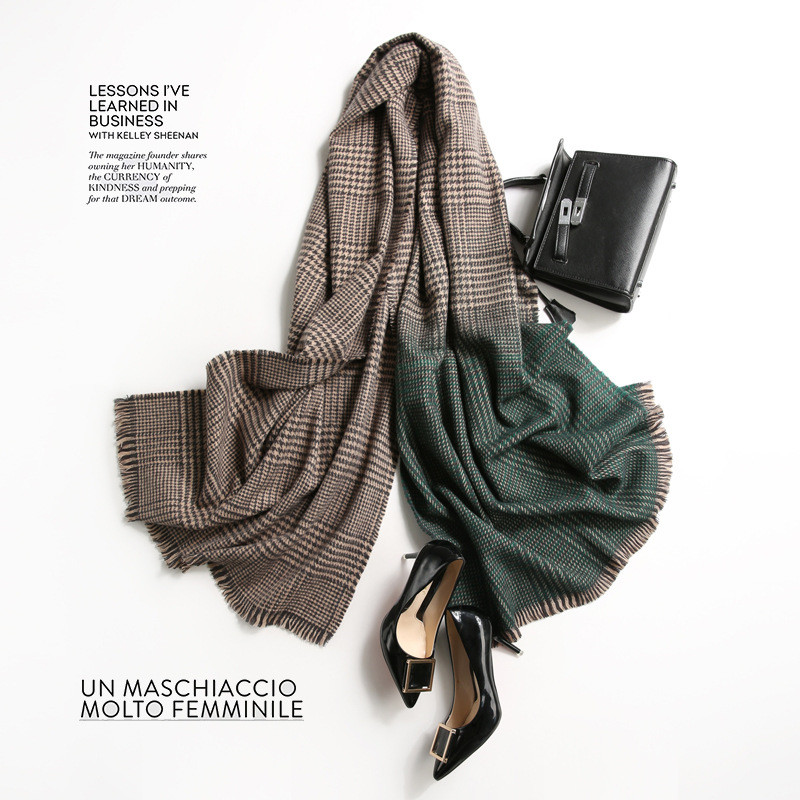 2019 Luxury Brand Cashmere Women Plaid Scarf Winter Warm Knitting Shawls And Wraps Pashmina Long Female Foulard Thicken Blanket