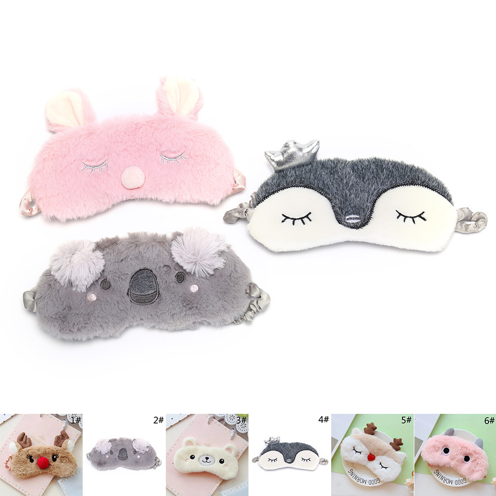 Eye Care Tool Sleep Eye Mask Cartoon Plush Eye Shade Bandage Rest Travel Relax Sleeping Aid Blindfold Cover Eye Patch cute animal eye cover sleeping mask eyepatch bandage blindfold christmas deer winter cartoon nap eye shade plush sleeping mask