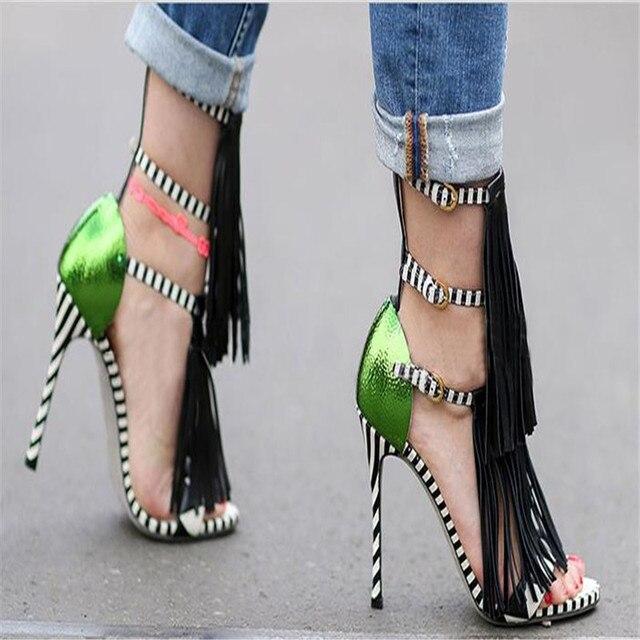 Marque Nouvelle Haute Talons Frange D'été Sandales Sexy À Bout Ouvert plus la Taille du Gladiateur Piste Partie Chaussures Femmes Pompes Zapatos Mujer 749
