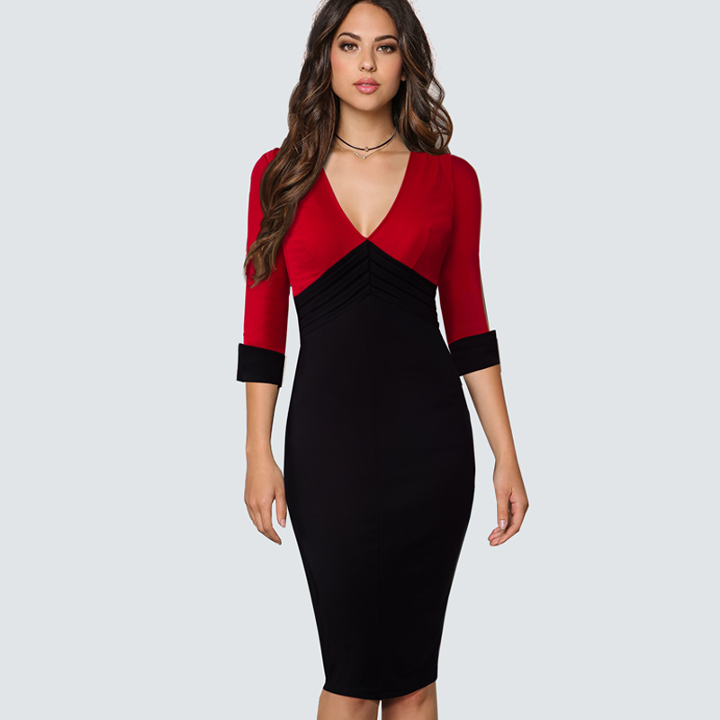 Business Wearing V Neck Patchwork Pencil Formal Dress Women Turn Down Full Sleeve Knee Length Elegant