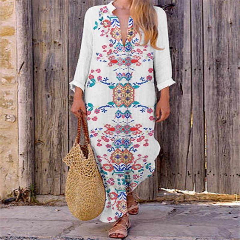 e8643215e95cc Women Cotton Linen Summer Dress Boho V-Neck Dress Floral Maxi Dress  Hawaiian Travelling Beach Party Dress Casual Long Sundress