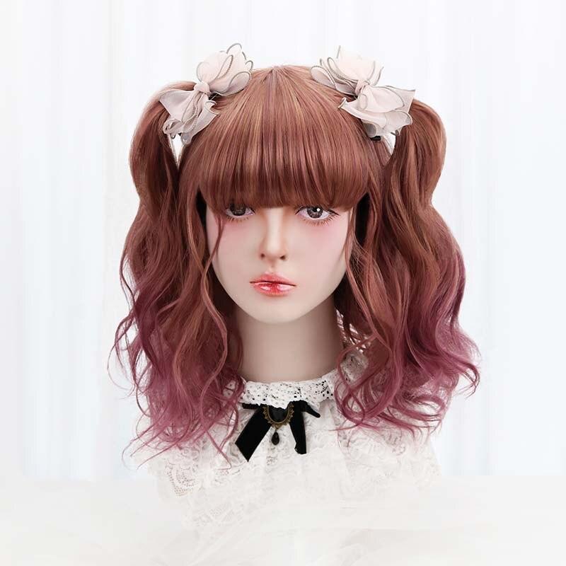 """18 """"synthetische Kurze Cosplay Lolita Perücke Lila Braun Ombre Welliges Haar Japan Harajuku Täglich Perücken Für Frauen Mit Pony Hitze Beständig"""