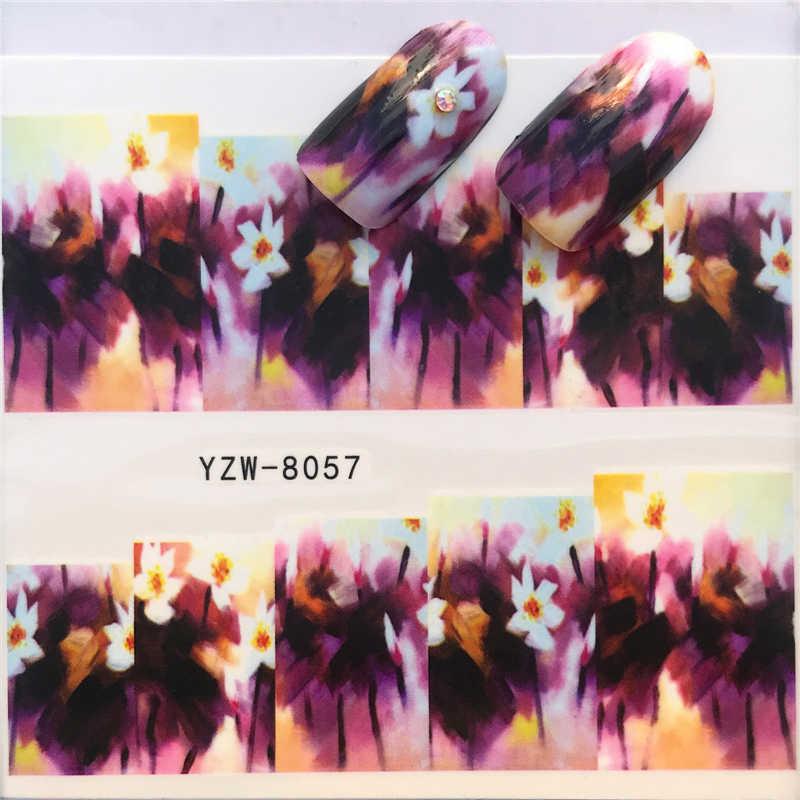 FWC 1 ورقة الأرجواني زهرة/النجوم/الزهور/العشب Styels مسمار الشارات الفن الملونة يلتف كامل لمسمار ملصقا نصائح المياه