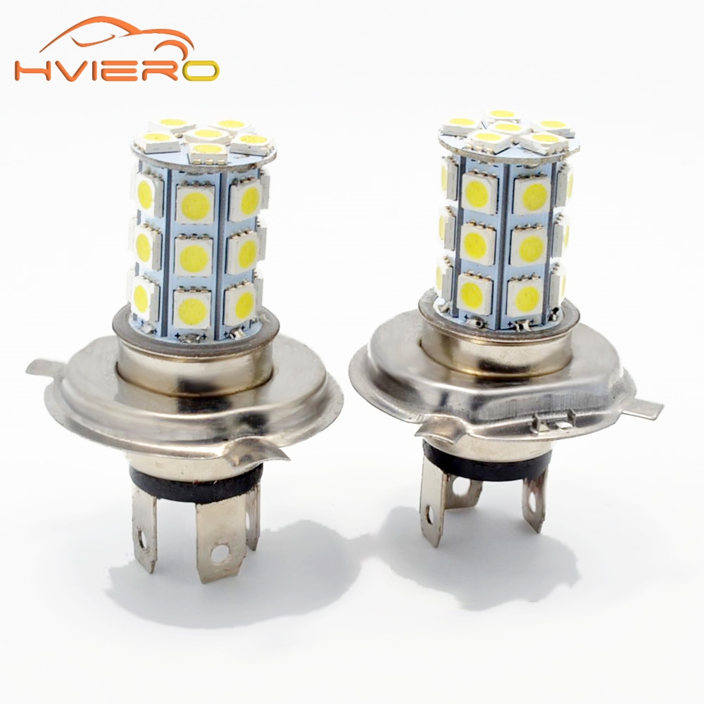 Hviero 2Pcs H4 Car Moto Motorcycle Led Fog Lamps HeadLamp 5050 27Led Pure Auto Light Headlight Parking Driving Lamp Bulb Dc 12v 2pcs set 72w 7200lm h7 cob led car headlight headlamp auto lamps led kit 6000k headlight bulb light car headlight fog light