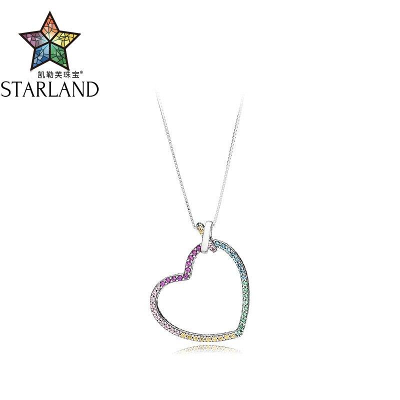 Starland 2018 Nouveau 60 cm 100% 925 Sterling Argent Arc-En-CZ Amour Coeur Pendentif Collier Pour Les femmes de mariage Bijoux Originaux cadeau