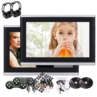 2 pcs Wireless Headphones + New Designed Black and Silver Car 10.1 inch Dual Screens Backseat DVD Players Portable USB/SD/HDMI