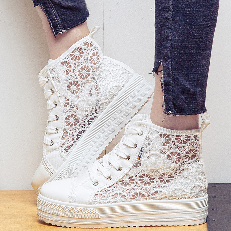 Summer/Autumn Women Platform Casual Shoes High-top Leisure Ladies Canvas White Shoes Mesh Sneakers Chaussure Femme Plus 42