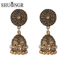 SHUANGR Antique Indian Jhumki Jhumka Dangle Earrings Ethnic Tribal Jewelry Middle East Retro National Style Bell Brincos(China)