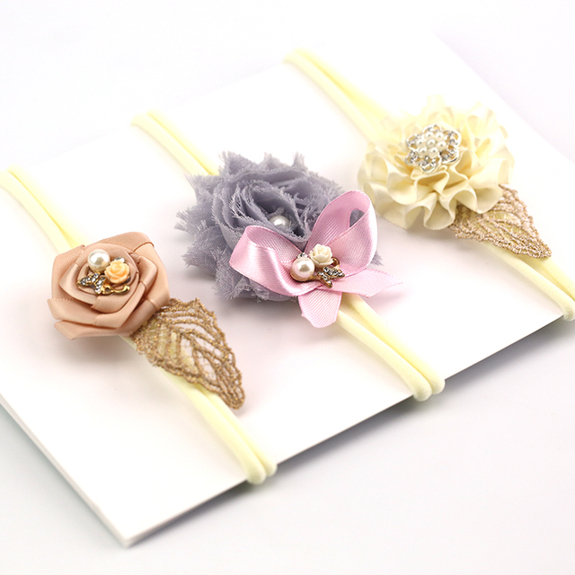shabby flower headband 3pcs set skinny soft nylon headband satin chiffon  flower girl headband hair c442e8c31b2
