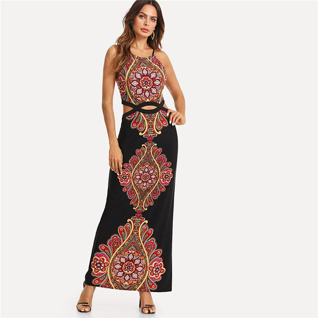 Colrovie Geo Print Cutout Midriff Cami Dress 2018 New Summer Pearls Boho Maxi Dress Halter Floral A Line Tribal Women Dress by Colrovie