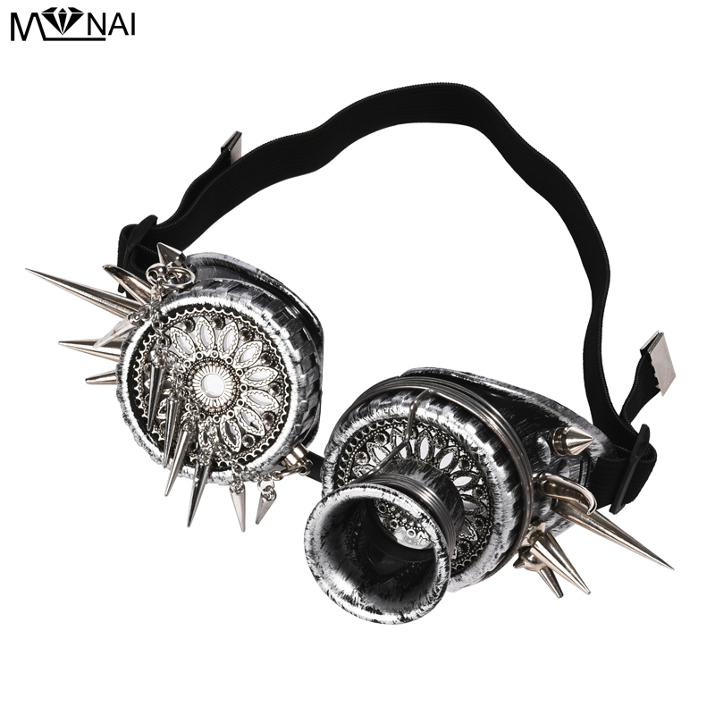 Retro Men Women Welding Steampunk Goggles Rivets Chain Glasses Cosplay Spikes Party Punk GogglesBoys Costume Accessories   -