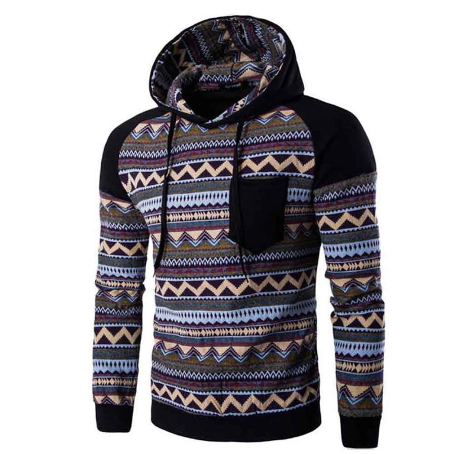 MUQGEW 2017 Hoodies Men Hooded Pullover Long Sleeve Fashion Geometry Print Stitching Sweatshirts Slim Fit Coat Mens Hoodie Top