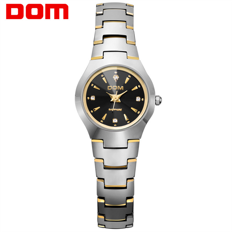 DOM Women Watch Luxury Tungsten Steel Quartz Gold Watches Fashion reloj feminino Dress silver waterproof bracelet relogio W-398G guanqin quartz watches fashion watch women dress relogio feminino waterproof tungsten steel gold bracelet watches relojes mujer